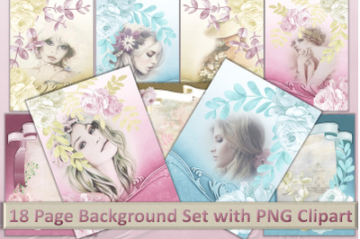 18 page Journaling Kit Backgrounds with Free CLipart