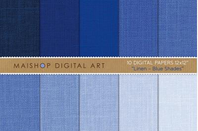 Digital Paper Pack I Linen Blue Shades