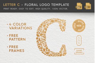 Letter C - Floral Logo Template