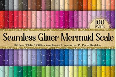 100 Seamless Fantasy Glitter Mermaid Scale Digital Papers