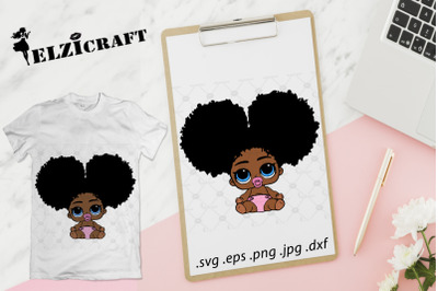 Afro Baby Girl SVG Cut File