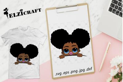 Afro Baby Girl Peeking SVG Cut File