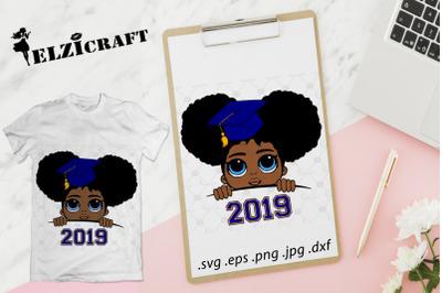 Graduated Afro Girl Peeking 2019 SVG Cut File