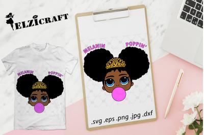Afro Girl Melanin Poppin SVG Cut File