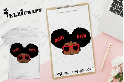 Afro Girl Mini Diva SVG Cut File