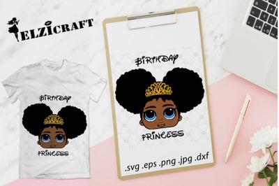 Afro Birthday Princess SVG Cut File