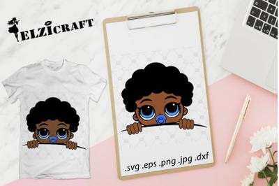 Afro Baby Boy Peeking SVG Cut File