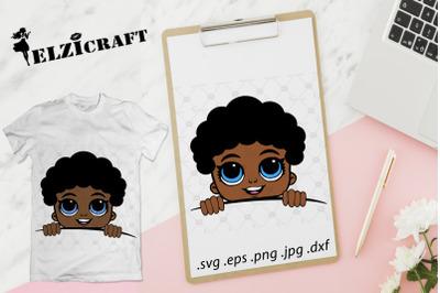 Afro Boy Peeking SVG Cut File