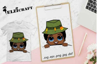 Afro Boy Fisher Peeking SVG Cut File