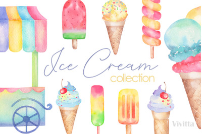 Ice cream watercolor collection, clip art
