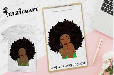 Afro Woman Zentangle Hair SVG Cut File