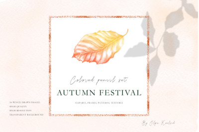 Hand-drawn set with Autumn Leaves
