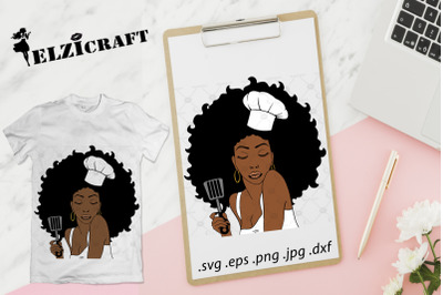 Afro Woman Chef with spatula SVG Cut File