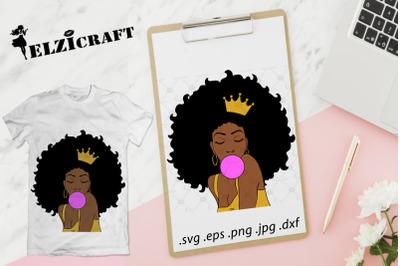 Afro Woman Melanin Poppin SVG Cut File