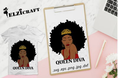 Afro Woman Queen Diva SVG Cut File