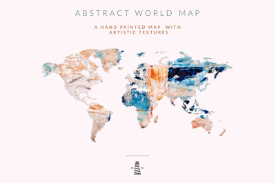 Hand Painted Abstract Map, World Map Clipart