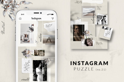 Instagram PUZZLE template - Neutral