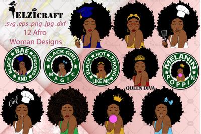 12 Afro Woman Designs BUNDLE SVG Cut Files