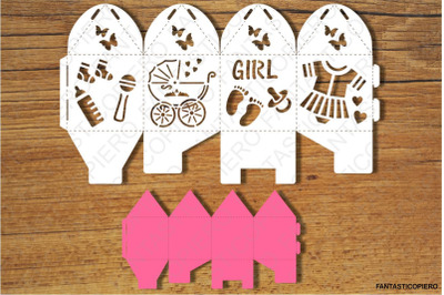 Baby Shower Box with interior color, two sizes 2 / 2,75 inch SVG files