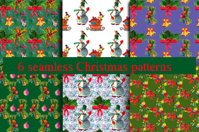 Watercolor Christmas patterns.