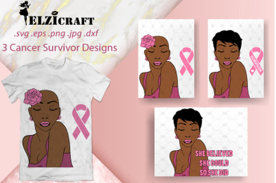 3 Cancer Survivor Designs, Afro Woman SVG Cut Files