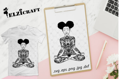 Afro Girl, Yoga Body, Mandala, Zentangle SVG Cut File