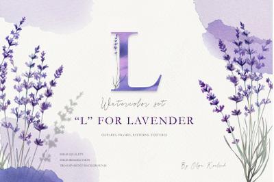Watercolor Provence Lavender Set
