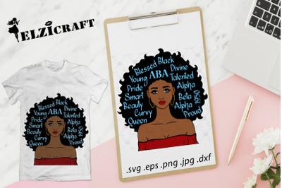 Afro Girl ABA, Alpha Beta Alpha SVG Cut File