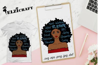 Afro Girl Teacher SVG Cut File
