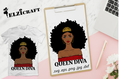 Afro Girl Queen Diva SVG Cut File