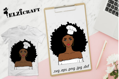 Afro Girl Chef SVG Cut File