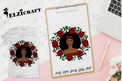 Afro Girl Rose Wreath SVG Cut File
