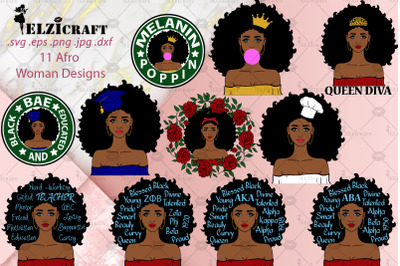 11 Afro Woman Designs SVG Cut Files