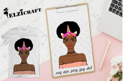 Afro Girl Unicorn, Flowers SVG Cut File