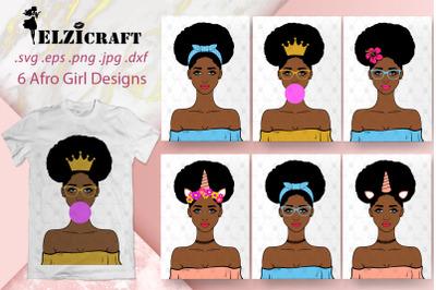 6 Afro Girl Designs SVG Cut Files