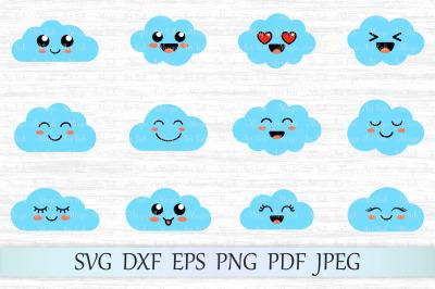 Cloud svg, Cloud clipart, Cute clouds svg file, Cloud face svg