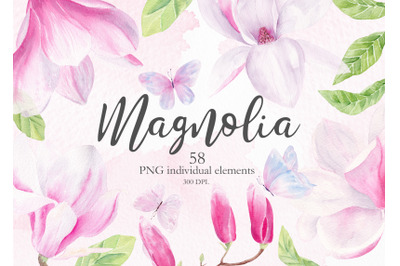 Magnolia Floral Watercolor Clipart