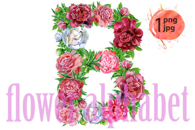 Letter B of watercolor flowers