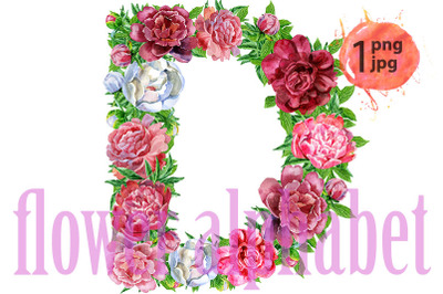 Letter D of watercolor flowers