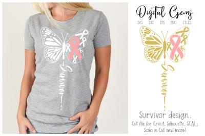 butterfly breast cancer survivor design