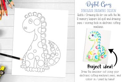 Dinosaur foil quill / drawing design