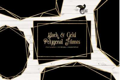 Black and Gold Polygonal Frames