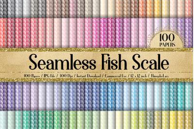 100 Seamless Fish Scale Ocean Sea Pattern Digital Papers