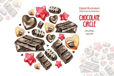 Watercolor chocolate circle