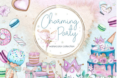Charming party. Watercolor collection
