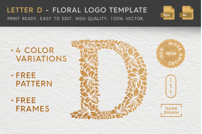 Letter D - Floral Logo Template