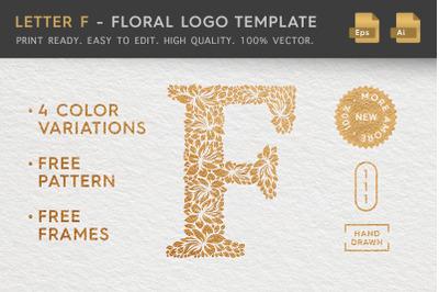 Letter F - Floral Logo Template