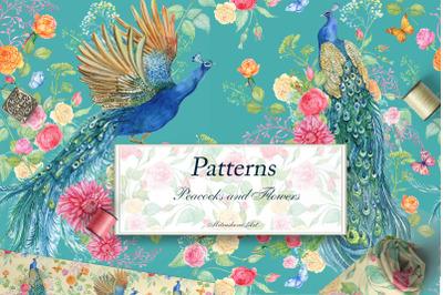 Seamless patterns .Peacocks Flower