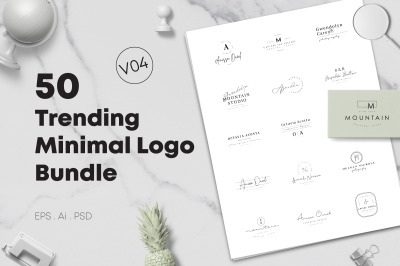 50 Trending Minimal Logo Bundle V04