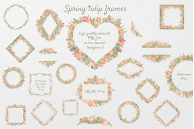 Set of 22 tulip watercolor frames